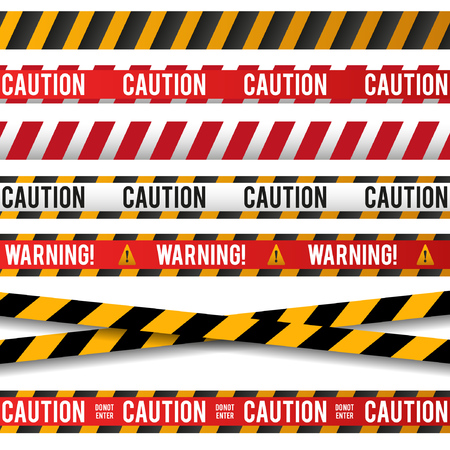 Set line and danger tape. Police line. Caution tape.