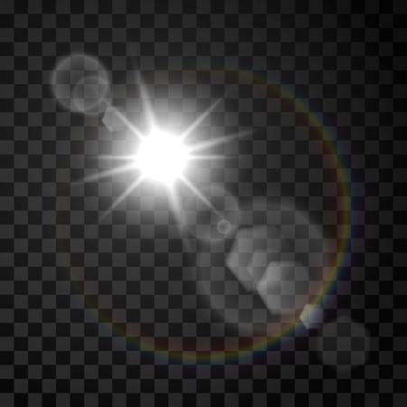 Transparent sunlight special lens flare light effect. Vector illustration Stock Illustratie