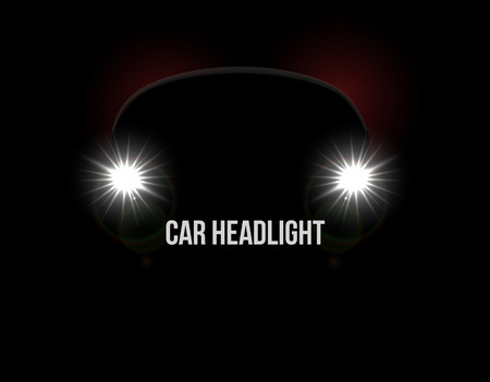 Car headlights. Headlamp glowing vector effect background
