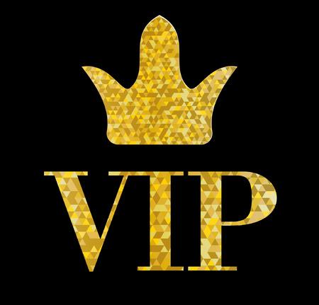 VIP golden letters with glitter on black background,Vector Illustration Illustration