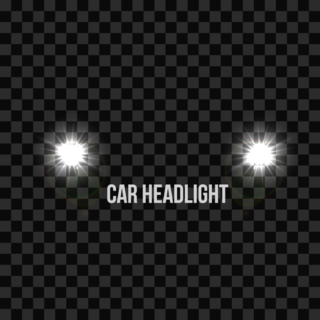 Car Headlights Headlamp Glowing Vector Effect Isolated Transparent Background