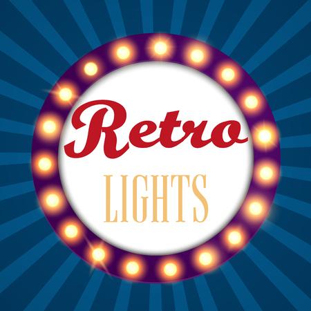Retro light sign vintage banner. Vector illustration.
