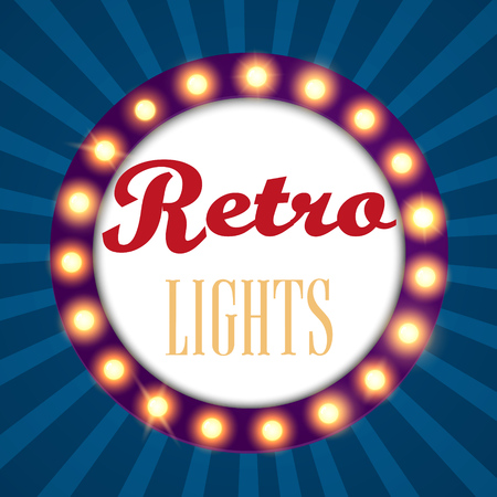 festivity: Retro light sign vintage banner. Vector illustration.