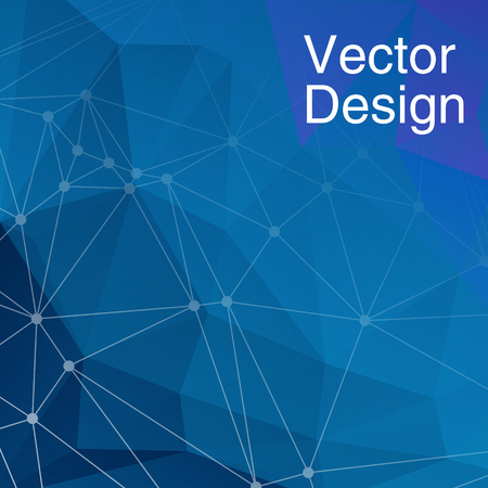 Abstract Blue geometric triangular polygons, network connections, business presentation. Vector illustration