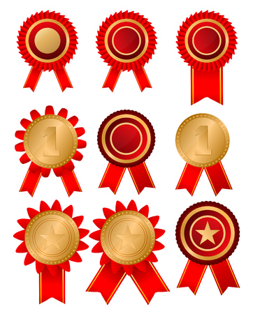Gold medal and red ribbon. Vector illustration