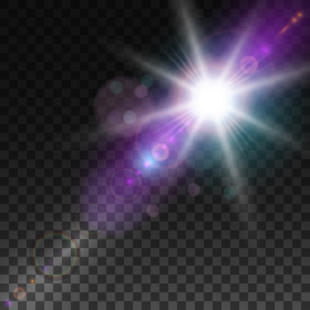 special effect: Sunlight, special lens flare, light effect. Sun flash with rays and spotlight. illustration.