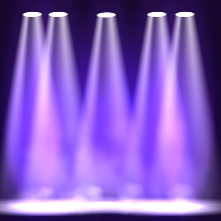 Spotlight scene decoration club theater. Vector projection presentation background illustartion. Stage Spotlight effect on scene.