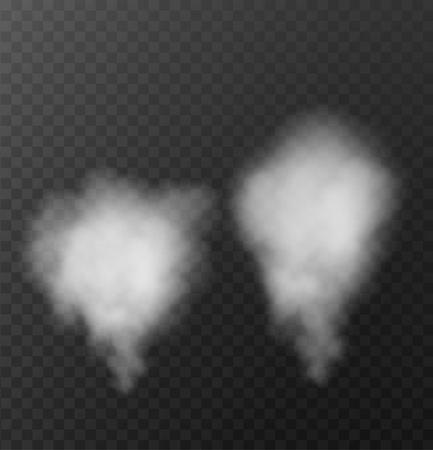 Realistic set smoke, steam on transparent background. Vector illustration