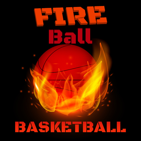 Flying basketball on fire. Vector illustration.