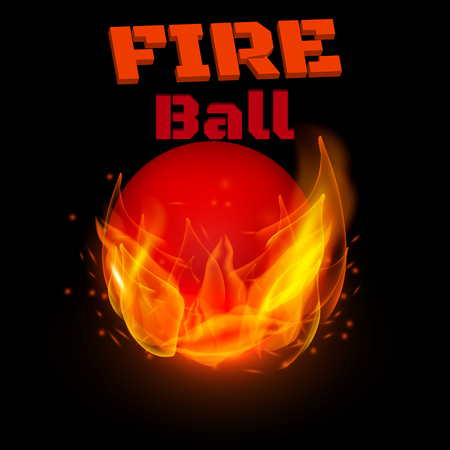 Flying ball on fire. Vector illustration.