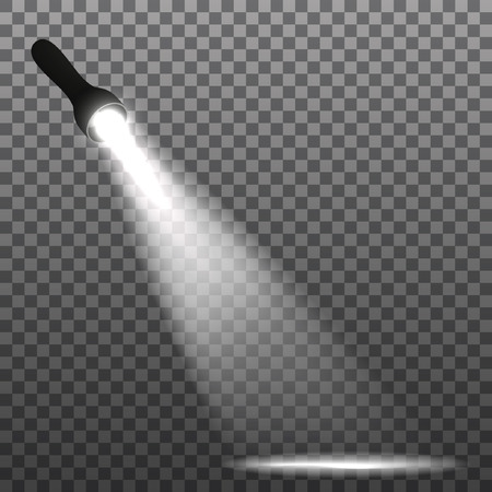flashlight on a transparent background. Vector illustration.