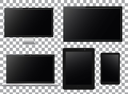 TV screen, lcd monitor, notebook, tablet computer, mobile phone isolated on transparent background.