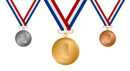 Set of gold, silver and bronze medals. vector Illuastration