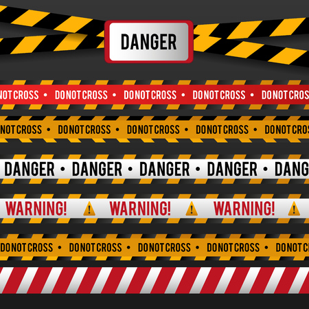 do not enter: A Vector set of Danger and Police Lines for restriction and dangerous zones on transparent background. Vector Illustration. Illustration
