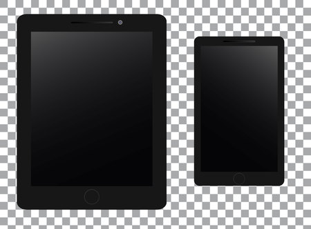 panels: Set of realistic mobile on transparent background Illustration