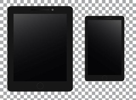 Set of realistic mobile on transparent background Illustration