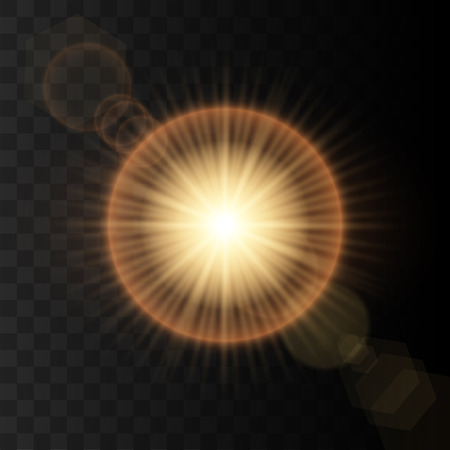 Transparent Golden Glow light effect. Vector Illustration Illustration
