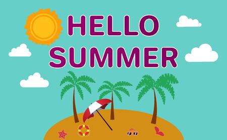 float fun: Beautiful beach on the island. Striped towel, umbrella, flip flops, float ring, sunglasses. Vector Flat Illustration