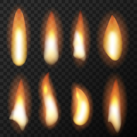Set of realistic fire flames with transparency background.