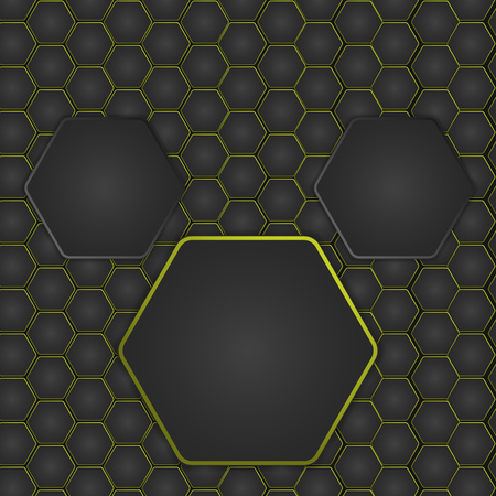 Abstract vector illustration with hexagonal structure and backlighting. Ilustrace