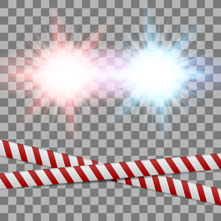 Police light and Police Lineson on transparent background. Vector Illustration