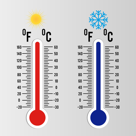 Thermometer icon Celsius and Fahrenheit. Vector Illustration. Illustration