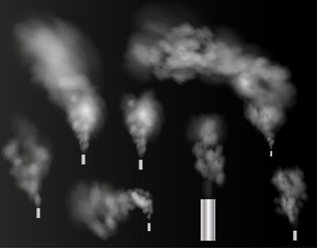 Set of realistic smoke, steam on transparent background. Vector Illustrator Çizim