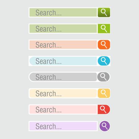 website header: Colorful Set of search bars, Vector web design elements. Illustration