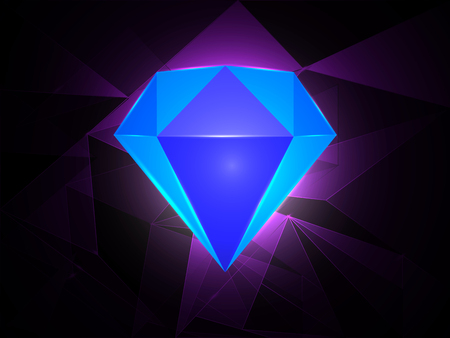 flaring: realistic blue diamond on purple background. vector illustration