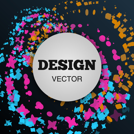 Modish style abstract composition made of various colorful designed shapes and objects. Vector illustration.