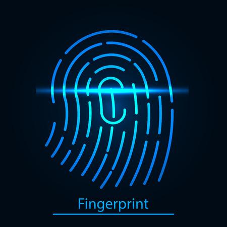 Fingerprint scanner, dentification system. Vector Illustration.