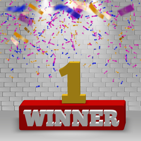 Vector winner cup light background. colorful confetti on wall background