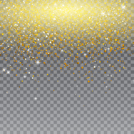 Vector gold glitter particles on transparent background.