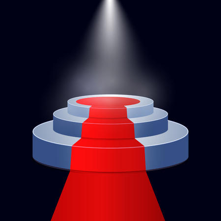 Red carpet and round podium with lights effect on dark blue background. vector abstract illustration.
