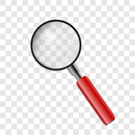 Magnifying glass isolated on transparent background. vector illustration