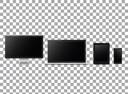 Realistic Computer Monitor, Laptop, Tablet and Mobile Phone with Technology Wallpaper Screen Isolated on transparent background. Vector Illustration.