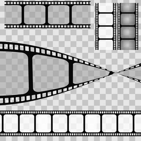 square tape: Set of film strip isolated on transparent background. Vector illustration. eps 10