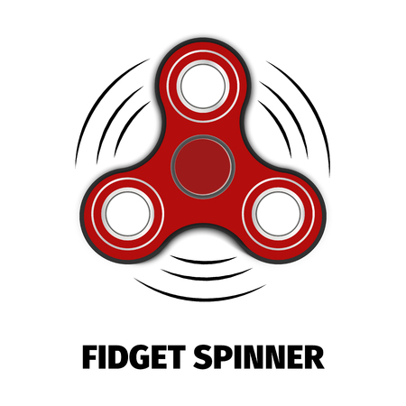 Hand fidget Red spinner toy. stress and anxiety relief. 3d vector illustration.