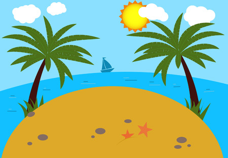 Summer background beach. Sea and a palm tree. Modern flat design. Vector illustration.