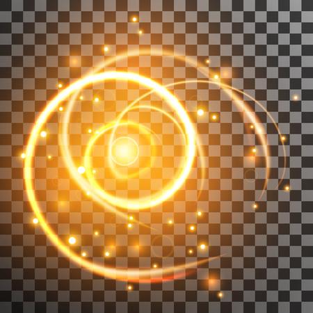 glitz: golden light streak with sparkles effect isolated on transparent background. Vector illustration.