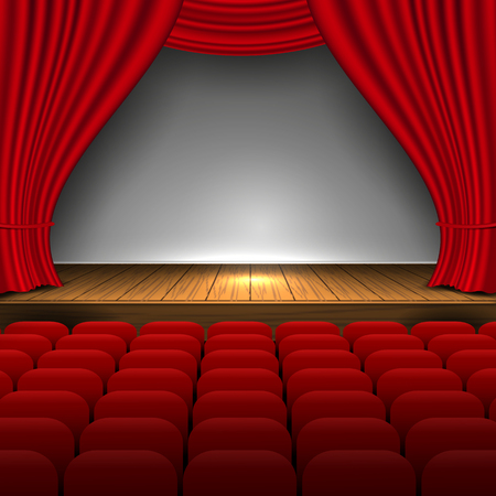 Open premium red curtains theater background movie presentation design and premiere now show. scene and seats. Vector Illustration 矢量图像