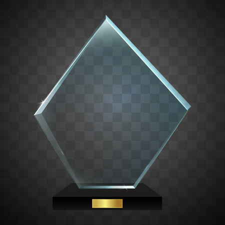 certificate template: Glass shining trophy isolated on transparent background. Vector illustration.