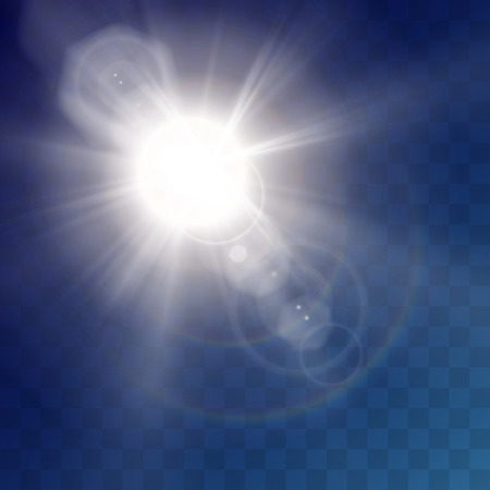 ray of light: Sunlight special lens flare light. Sun flash effect isolated on transparent background. Vector illustration.