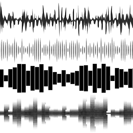 electronic background: Set sound waves set. Audio equalizer technology, pulse musical. Vector illustration. Illustration