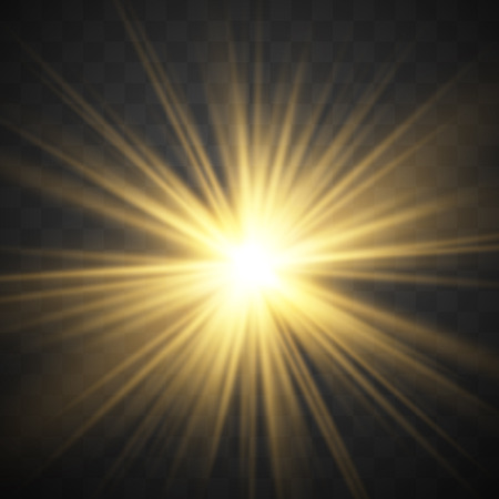 Gold glowing light burst explosion with transparent. Vector illustration.