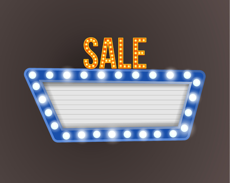 holiday shopping: Retro realistic 3D light sale signboard. Vector retro banners billboard. Vector illustration.