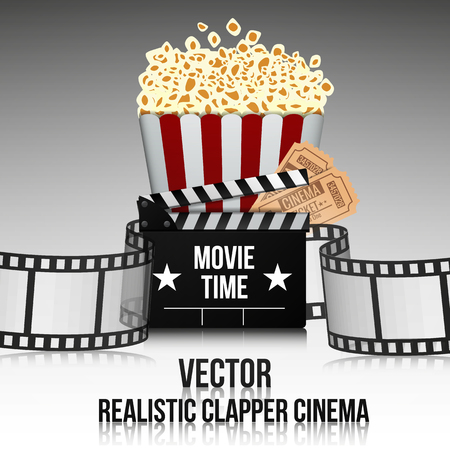 film industry: Movie cinema premiere poster design. Vector template banner for show with  popcorn, tickets and clipper