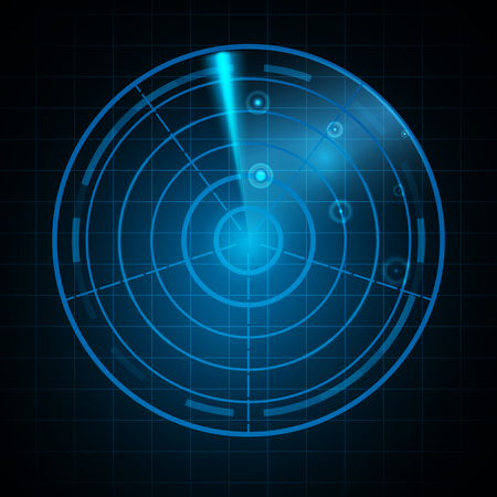 Realistic Digital radar in searching monitor. Isolated on black background.  illustration.