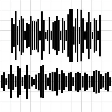 Set sound waves set. Audio equalizer technology, pulse musical. Vector illustration. Illustration