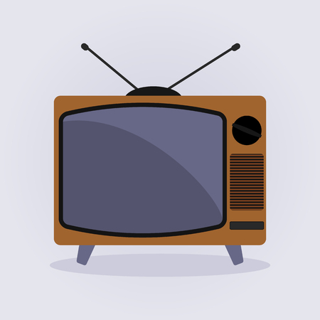 electronic background: Retro Tv Icon vector illustration flat design style on gray background. Illustration